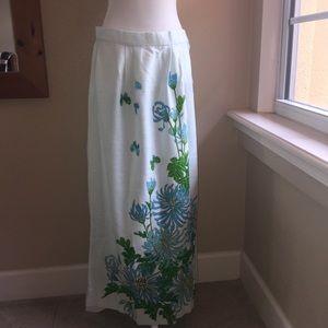 """Vtg  Shaheen Hawaiian Linen Maxi Skirt L/XL 34"""""""
